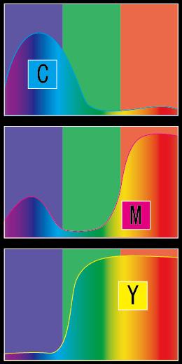 カラー 分光分布曲線 減法原色