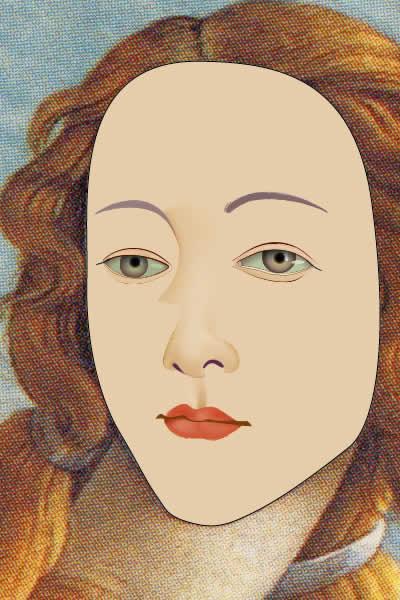 Illustrator グラデーションメッシュ ビーナスを描く 顔完成